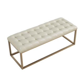 Retro Glitz Healy Bonded Leather Upholstered Bench