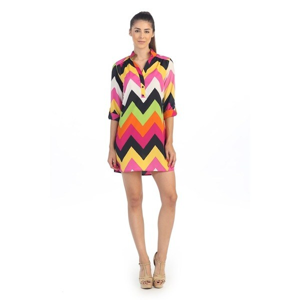 Hadari Women's Multicolored Chevron Print Shirt Dress