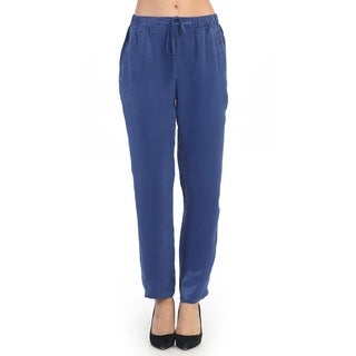 Hadari Women's Blue Casual Drawstring Pants