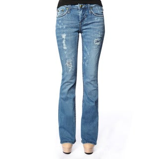 Stitch's Womens Ripped Blue Denim Slim Trouser Boot-cut Jeans