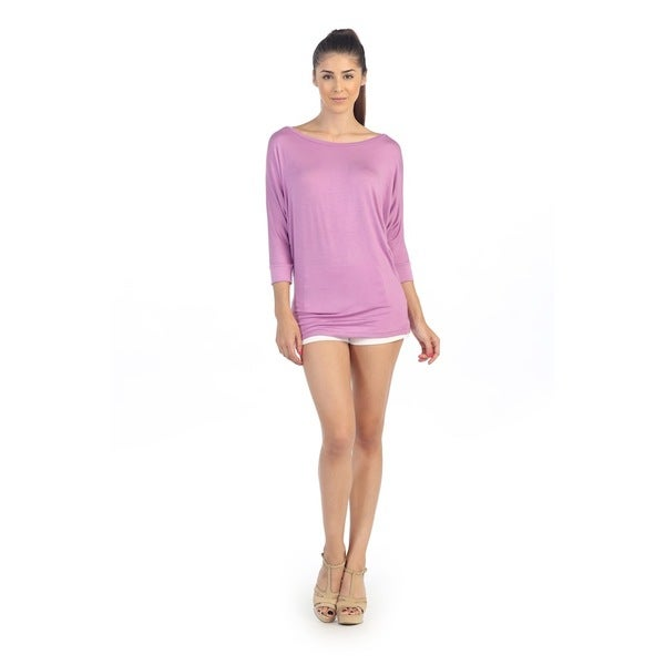 Hadari Women's Lavender Dolman Sleeve Top
