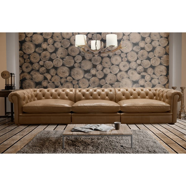 Abraham 142-inch 3-piece Aurora Honey Leather Sofa Set