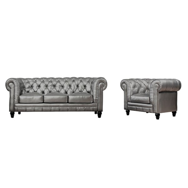 Zahara Silver Leather Living Room Set