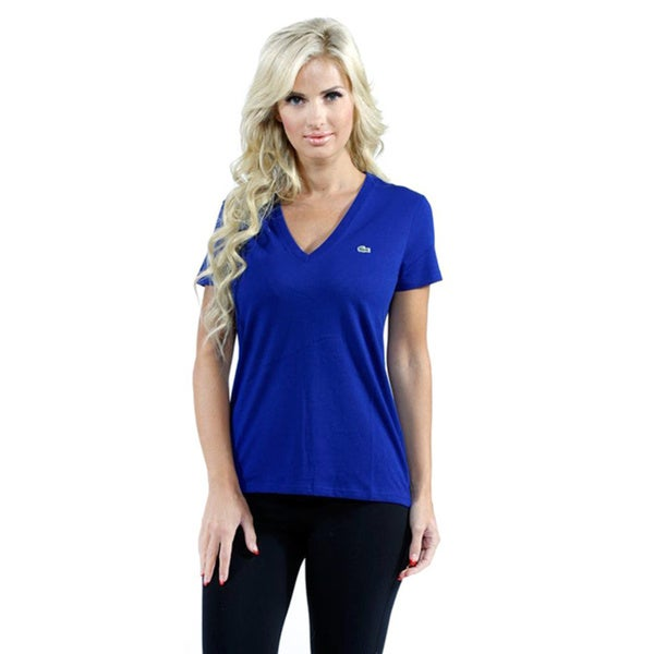 Lacoste Women's Blue Jersey V-neck T-shirt