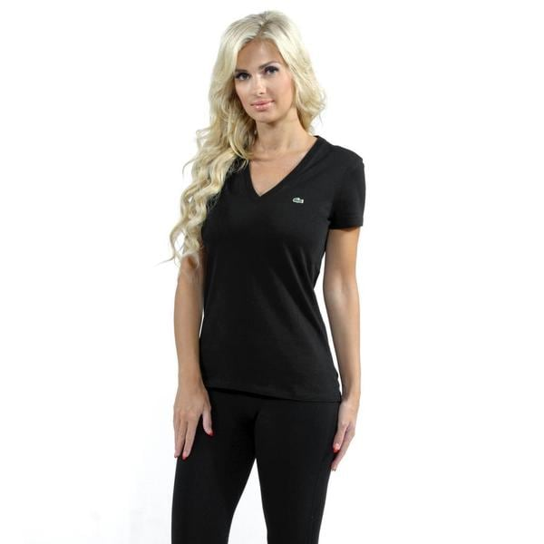 Lacoste Women's Black Jersey V-neck T-shirt