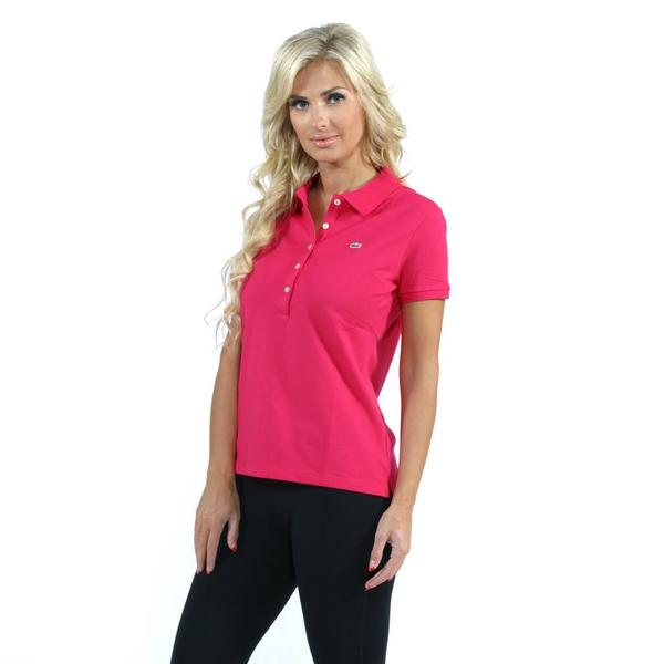 Lacoste Women's Camelia Pink 5-button Stretch Pique Polo