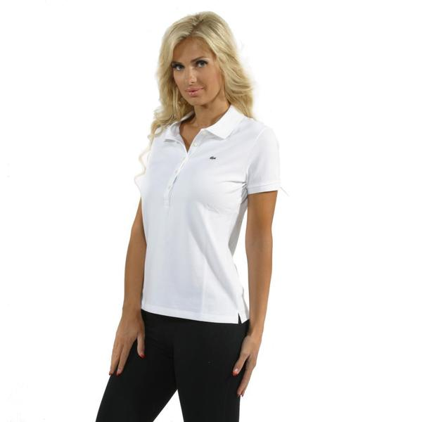 Lacoste Women's White 5-button Stretch Pique Polo