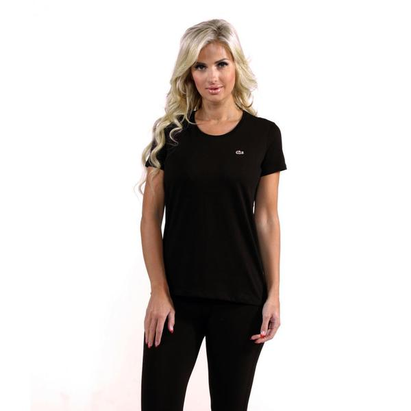 Lacoste Women's Black Scoop Neck T-shirt