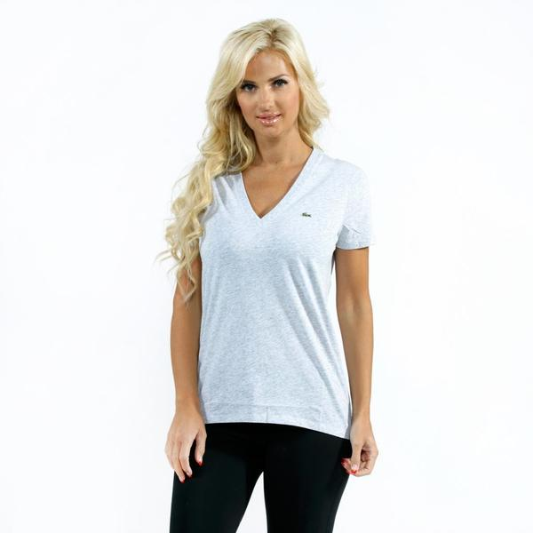Lacoste Women's Grey Jersey V-neck T-shirt