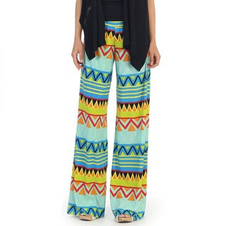 Hadari Women's Mint and Yellow Geometric Pallazzo Pants