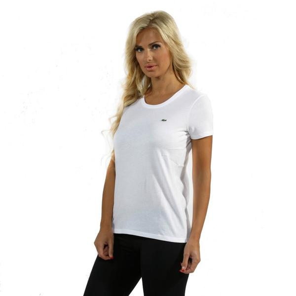 Lacoste Women's White Scoop Neck T-shirt