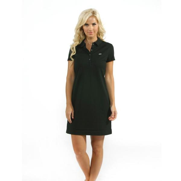 Lacoste Women's Black Stretch Pique Classic Polo Dress