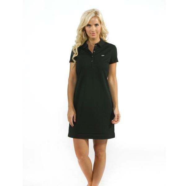 Lacoste Women's Black Stretch Pique Classic Polo Dress
