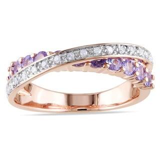 Miadora Pink Plated Silver 1/10ct TDW White Diamond Tanzanite Crossover Ring (H-I, I2-I3)