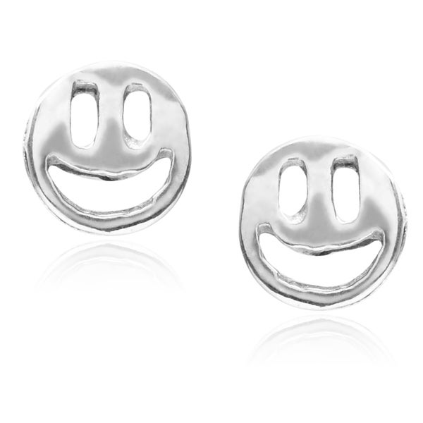 Journee Collection Sterling Silver Smiley Face Stud Earrings