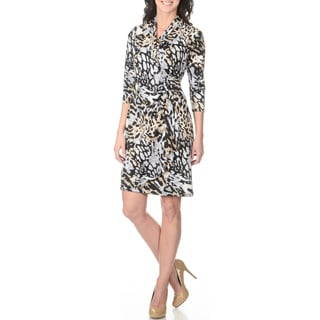 S. L. Fashions Women's Animal Print Mock Wrap Dress