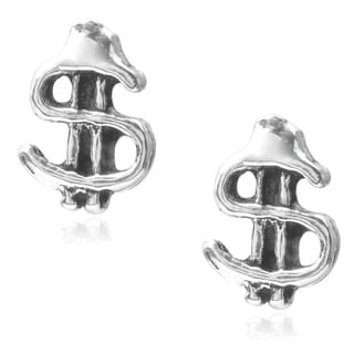 Journee Collection Sterling Silver Dollar Sign Stud Earrings