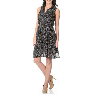 S.L. Fashions Women's Black and White Polka-dot Dress