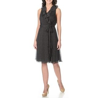 S.L. Fashions Women's Polka-dotted Mock Wrap Dress