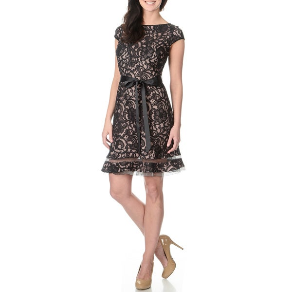 S.L. Fashions Women's Two-tone Black and Blush Lace Dress