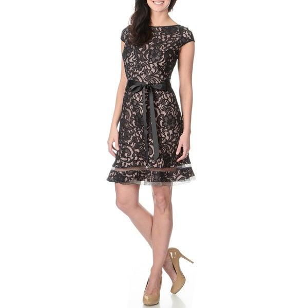 S.L. Fashions Women's Two-tone Black and Blush Lace Dress