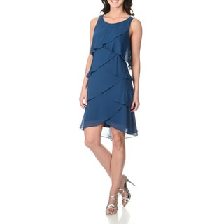 S.L. Fashions Women's Night Blue Asymmetrical Tiered Dress