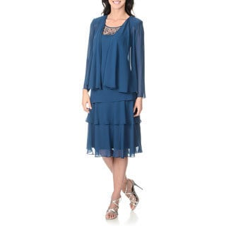 S.L. Fashions Women's Night Blue Tiered Dress and Jacket Set