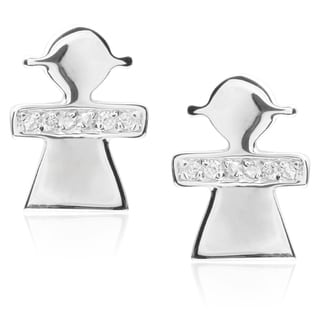 Tressa Collection Sterling Silver Cubic Zirconia Girl Stud Earrings