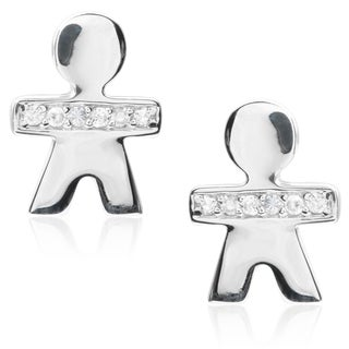 Tressa Collection Sterling Silver Cubic Zirconia Boy Stud Earrings