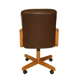 Solid Wood Rolling Caster Chair with Tilt and Bonded Leather Cushion Seat