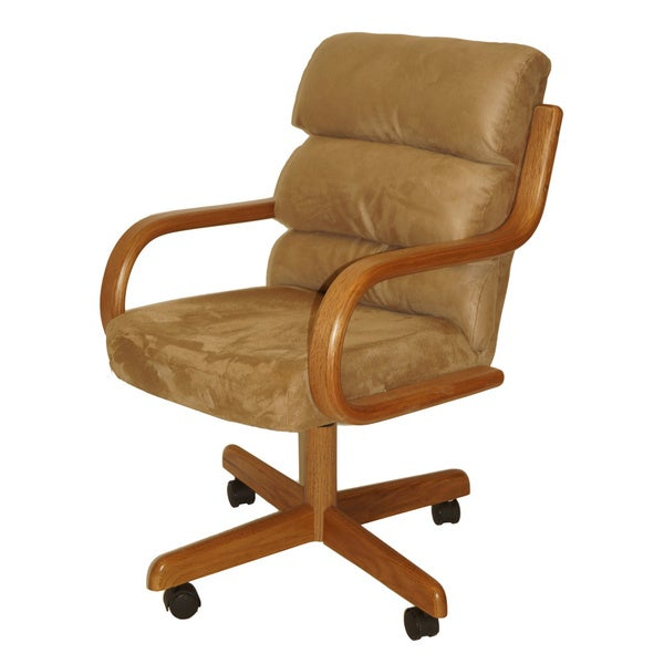 Shop Casual Dining Brown Cushion Swivel And Tilt Rolling: Solid Wood Rolling Caster Dining Chair With Tilt And