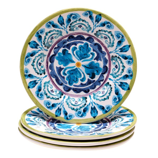 Hand-painted Mood Indigo Ceramic Dessert Plates (Set of 4)