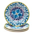 Hand-painted Mood Indigo Ceramic Dessert Plates (Set of 4)