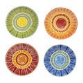 Certified International Hand-painted Tapas 11.25-inch Assorted Ceramic Dinner Plates (Set of 4)