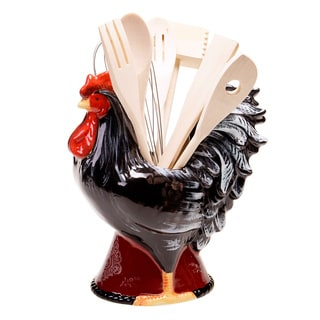 Hand-painted Fancy Rooster Ceramic 8-piece Tool Set