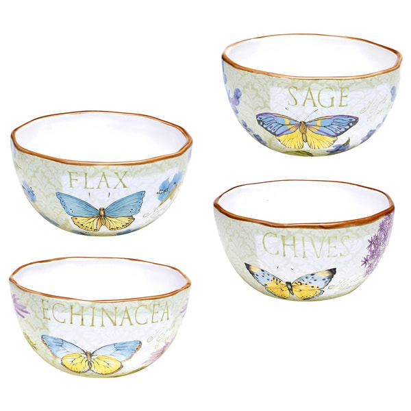 Hand-painted Herb Garden Assorted Ice Cream Bowls (Set of 4)