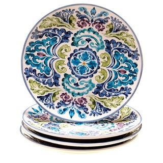 Certified International Hand-painted Mood Indigo Ceramic Dinner Plates (Set of 4)