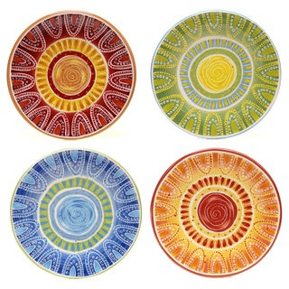 Certified International Hand-painted Tapas 8.75-inch Assorted Salad/ Dessert Plates (Set of 4)