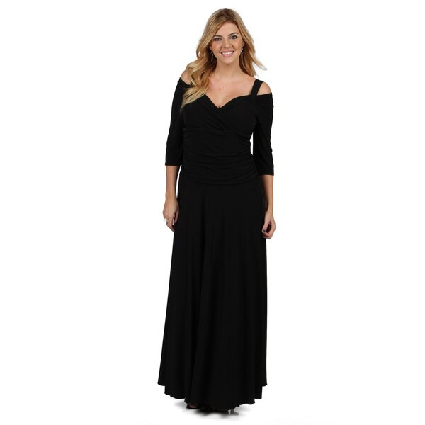 Evanese Women's Plus Size Elegant Long Dress with 3/4 Sleeve in Black 2X (As Is Item)