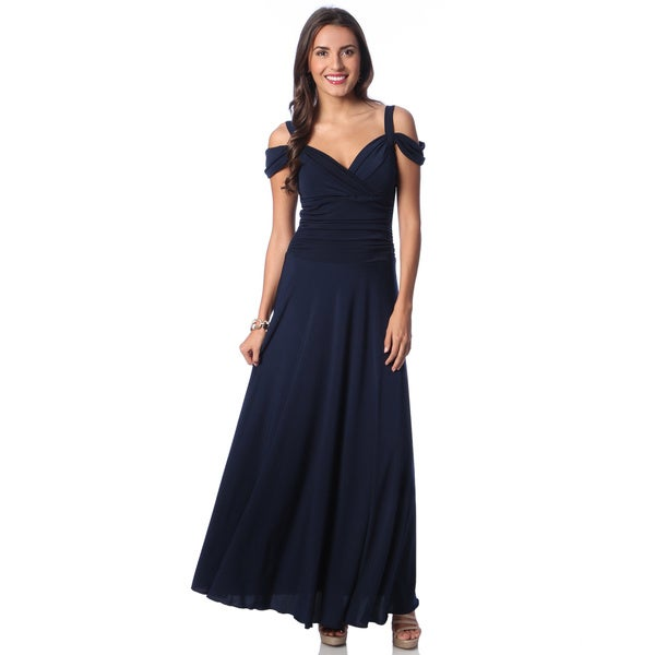 Evanese Women's Slip On Long Dress with Shoulder bands in Black XL