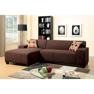 Furniture of America Lediz Chocolate Chenille Sectional