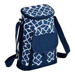 Picnic at Ascot Two Bottle Carrier and Cheese Set Trellis Blue