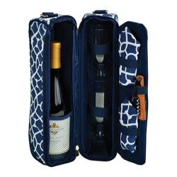 Picnic at Ascot Deluxe Wine Carrier for Two Trellis Blue