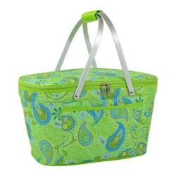 Picnic at Ascot Paisley Green Collapsible Insulated Basket Paisley Green