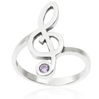 Journee Collection Sterling Silver Cubic Zirconia Music Note Ring