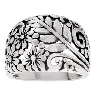 Journee Collection Floral Sterling Silver Dome Ring