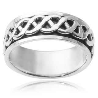 Vance Co. Men's Sterling Silver Spinner Band