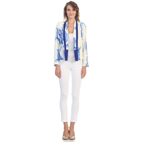 Hadari Women's White and Cobalt Filigree Blazer