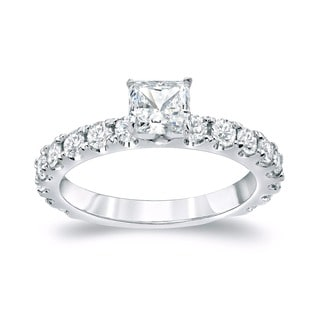 Auriya 14k Gold 1 1/2ct TDW Princess Diamond Engagement Ring (H-I, SI1-SI2)
