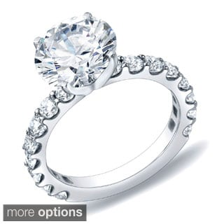 Auriya 14k Gold 1 3/4ct TDW Certified Round Diamond Engagement Ring (H-I, SI1-SI2)